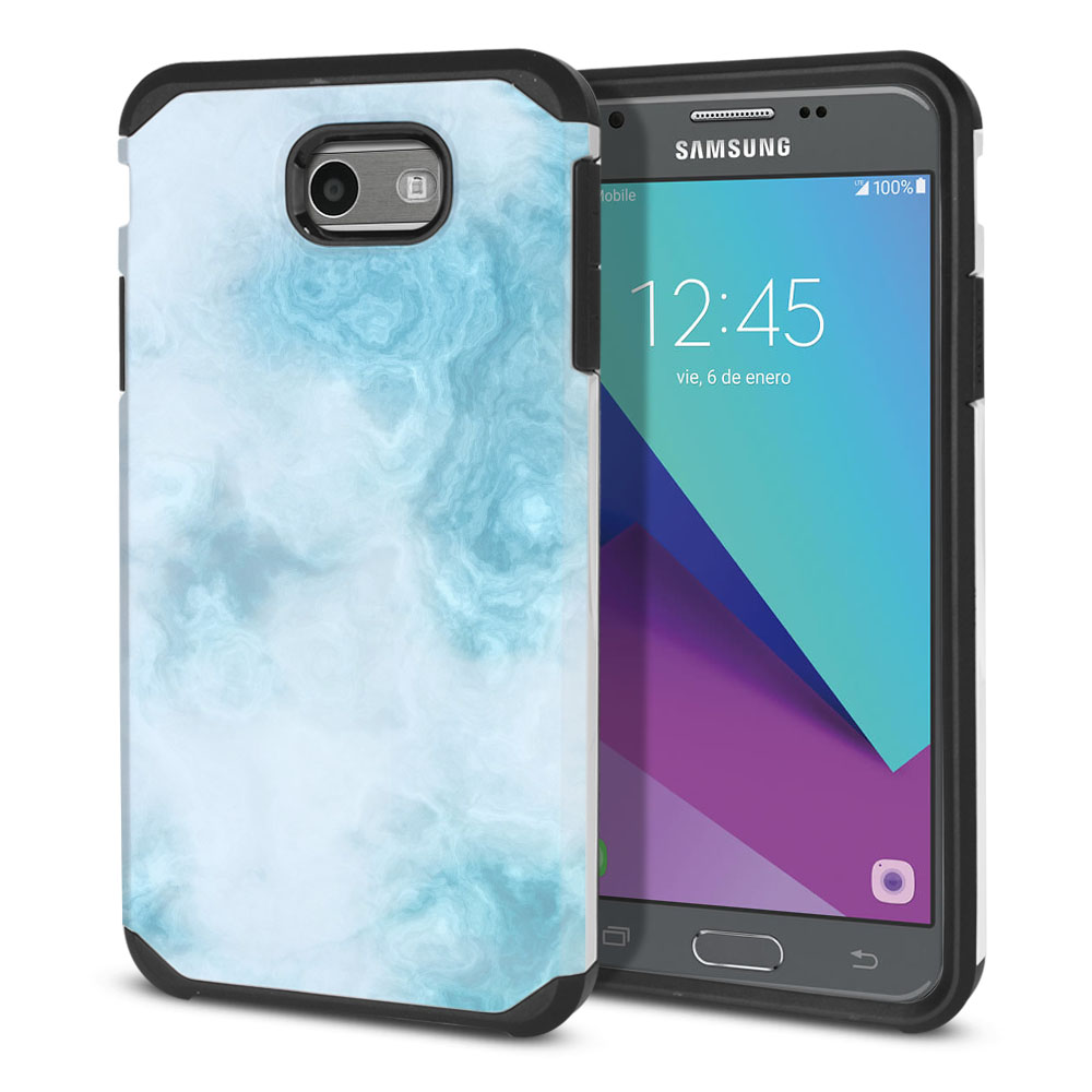 Samsung Galaxy J3 J327 2017 2nd Gen Hybrid Slim Fusion Blue Cloudy Marble Protector Cover Case