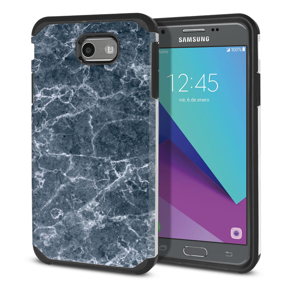 Samsung Galaxy J3 J327 2017 2nd Gen Hybrid Slim Fusion Blue Stone Marble Protector Cover Case