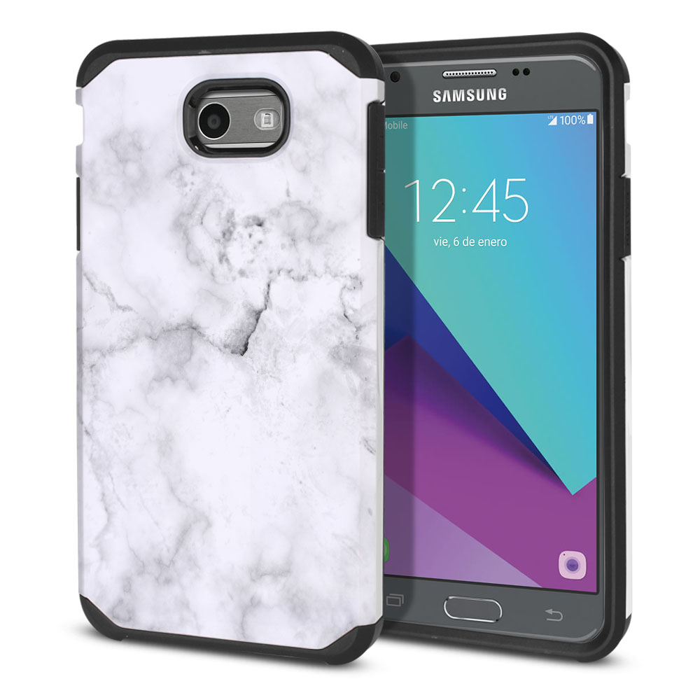Samsung Galaxy J3 J327 2017 2nd Gen Hybrid Slim Fusion Grey Cloudy Marble Protector Cover Case