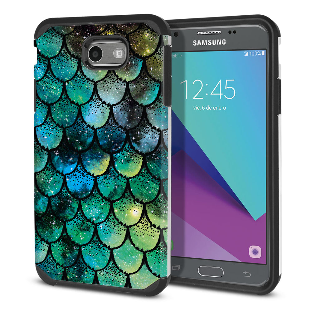 Samsung Galaxy J3 J327 2017 2nd Gen Hybrid Slim Fusion Green Mermaid Scales Protector Cover Case