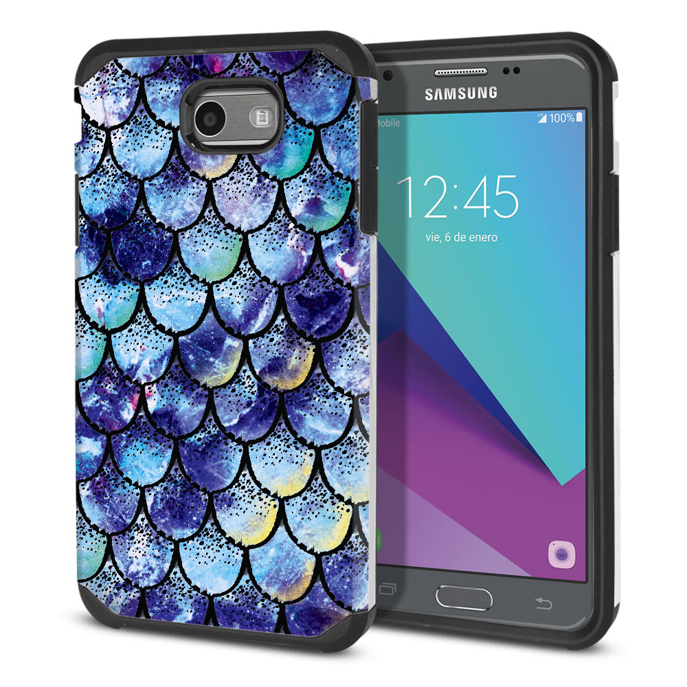 Samsung Galaxy J3 J327 2017 2nd Gen Hybrid Slim Fusion Purple Mermaid Scales Protector Cover Case