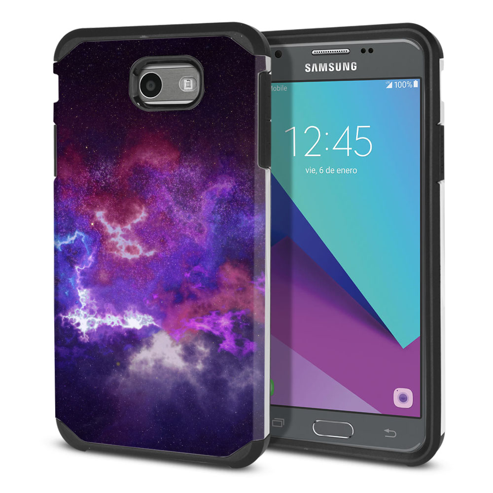 Samsung Galaxy J3 J327 2017 2nd Gen Hybrid Slim Fusion Purple Nebula Space Protector Cover Case