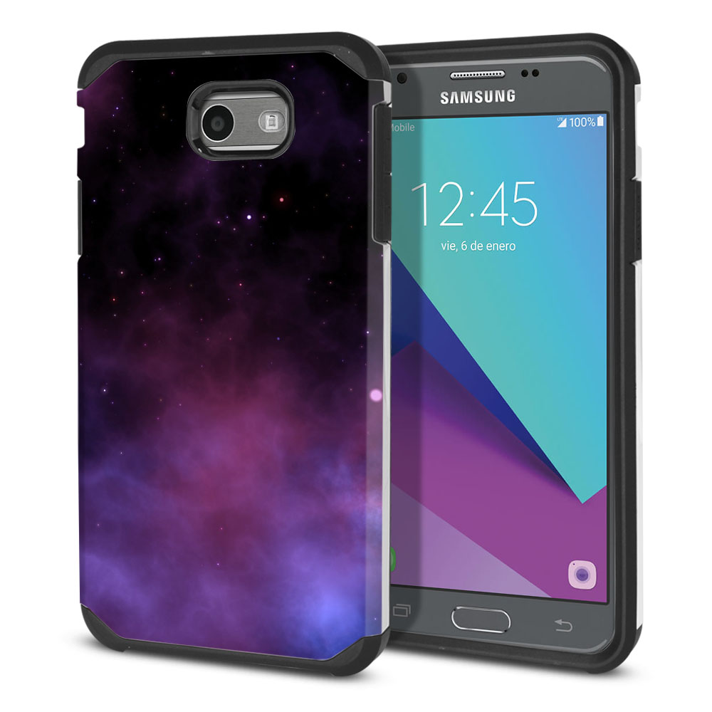 Samsung Galaxy J3 J327 2017 2nd Gen Hybrid Slim Fusion Purple Space Stars Protector Cover Case