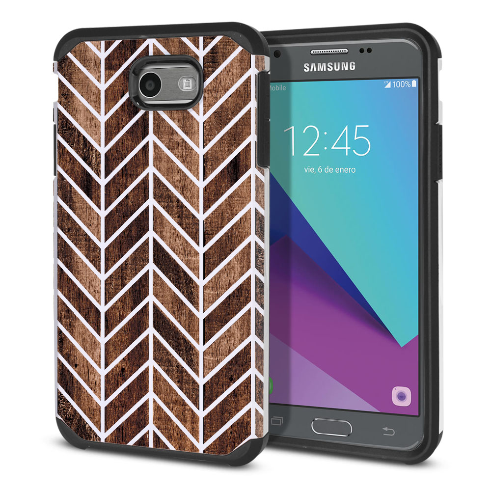Samsung Galaxy J3 J327 2017 2nd Gen Hybrid Slim Fusion Wood Chevron Protector Cover Case