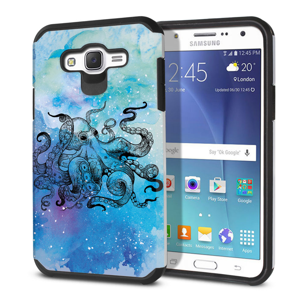 Samsung Galaxy J7 J700 Hybrid Slim Fusion Blue Water Octopus Protector Cover Case