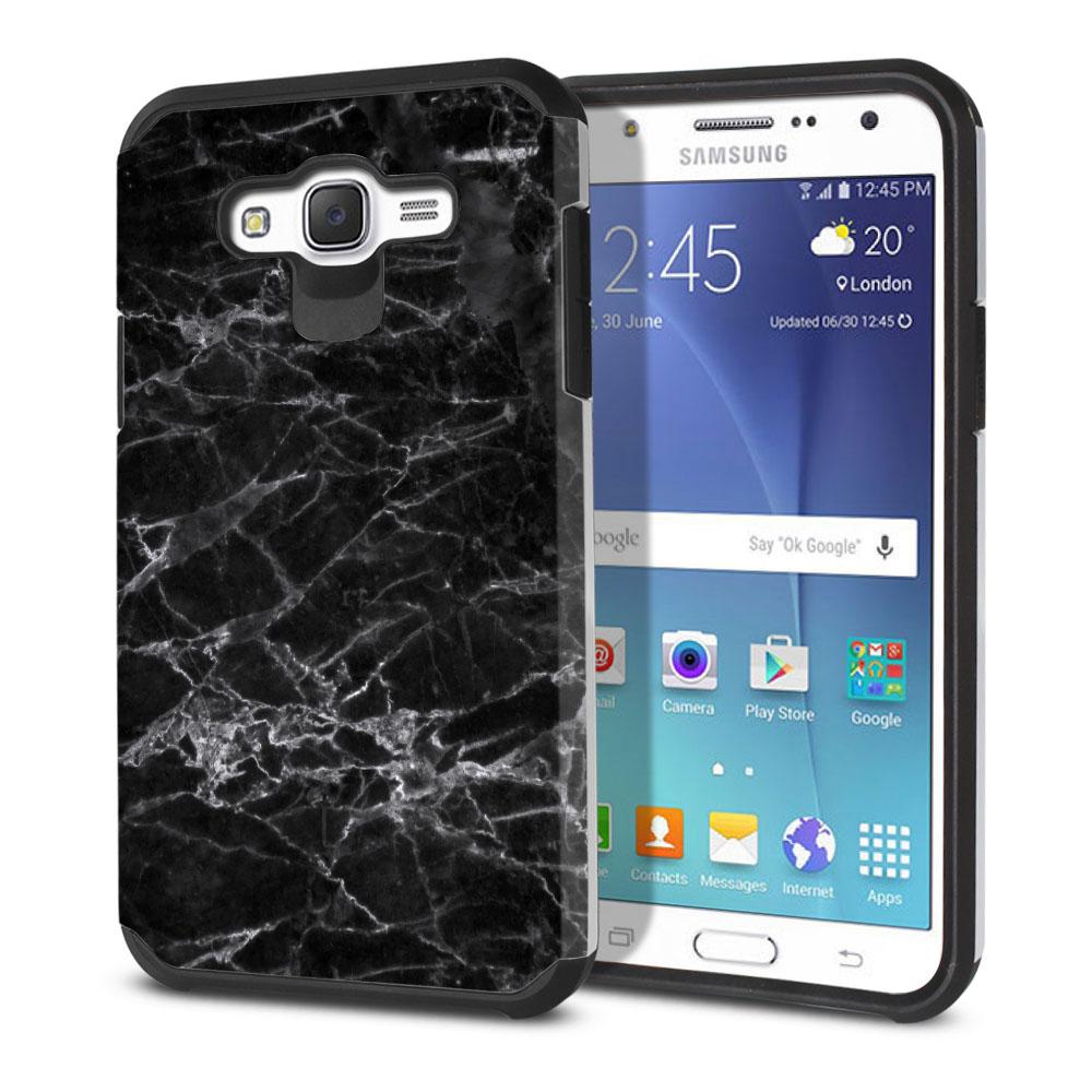 Samsung Galaxy J7 J700 Hybrid Slim Fusion Black Stone Marble Protector Cover Case