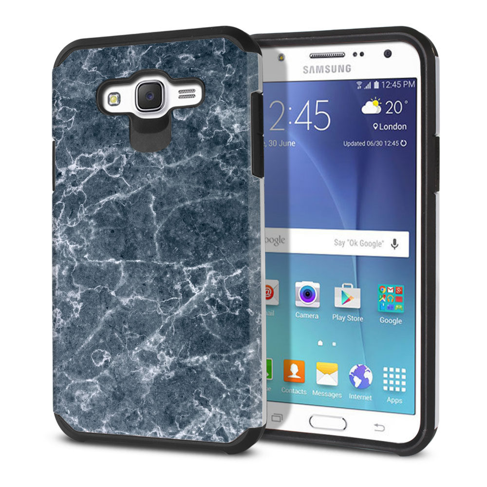 Samsung Galaxy J7 J700 Hybrid Slim Fusion Blue Stone Marble Protector Cover Case