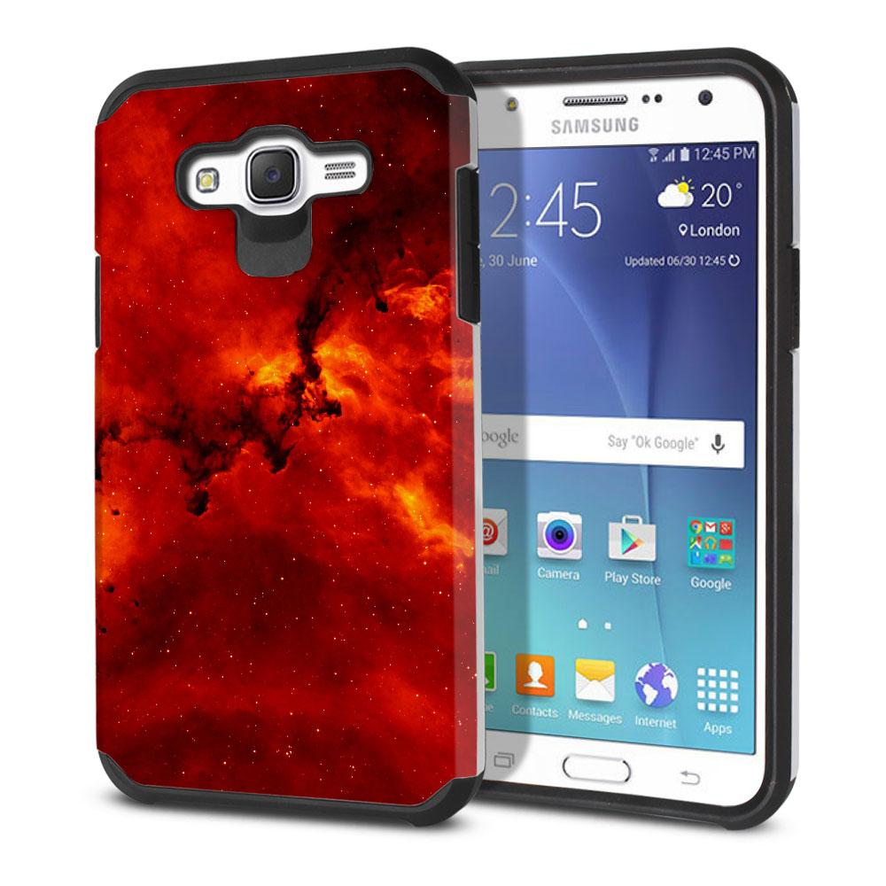 Samsung Galaxy J7 J700 Hybrid Slim Fusion Fiery Galaxy Protector Cover Case