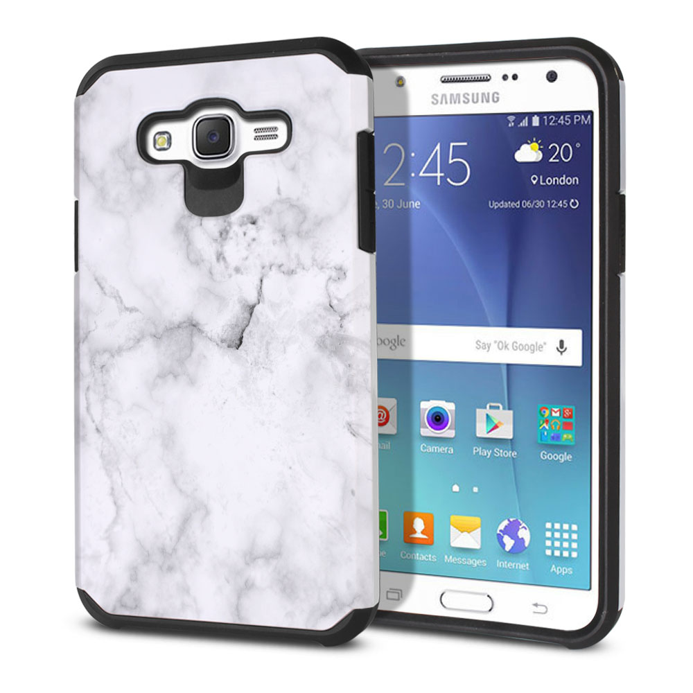 Samsung Galaxy J7 J700 Hybrid Slim Fusion Grey Cloudy Marble Protector Cover Case