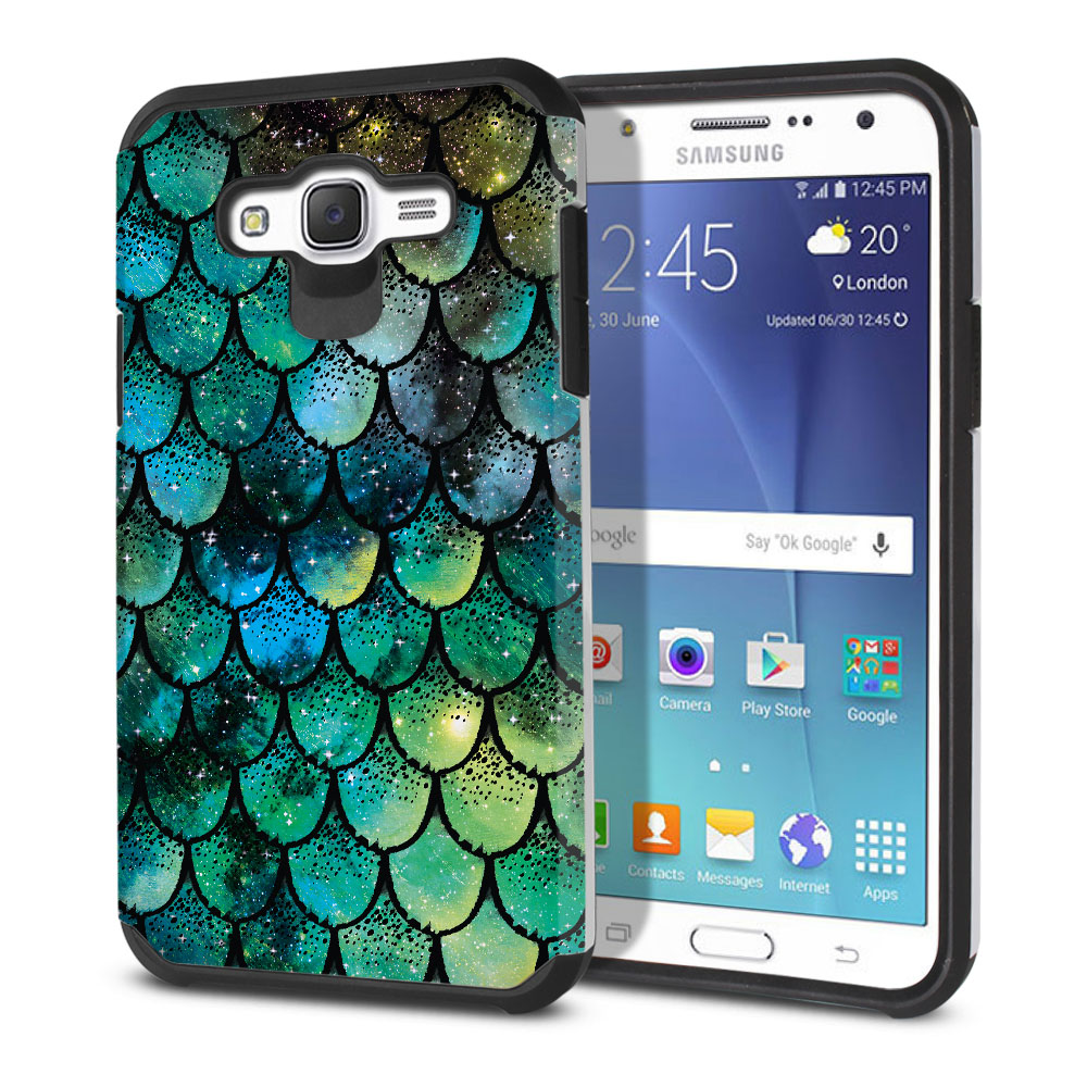 Samsung Galaxy J7 J700 Hybrid Slim Fusion Green Mermaid Scales Protector Cover Case