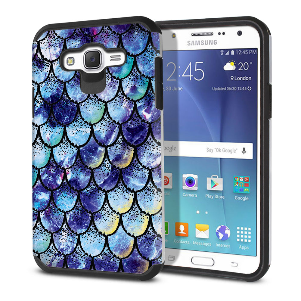Samsung Galaxy J7 J700 Hybrid Slim Fusion Purple Mermaid Scales Protector Cover Case