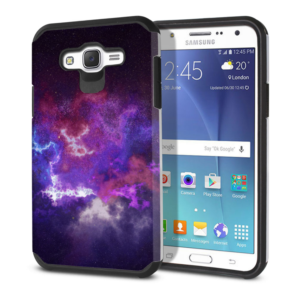 Samsung Galaxy J7 J700 Hybrid Slim Fusion Purple Nebula Space Protector Cover Case