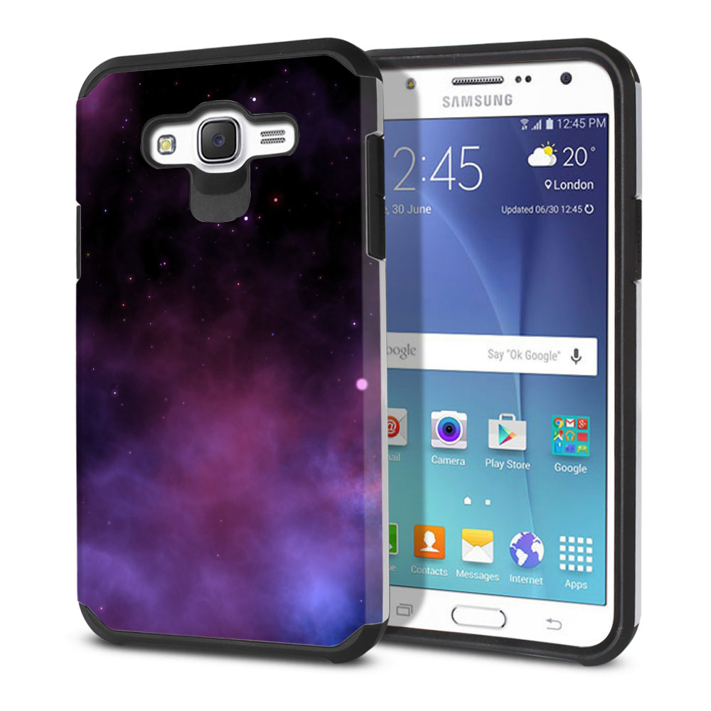 Samsung Galaxy J7 J700 Hybrid Slim Fusion Purple Space Stars Protector Cover Case