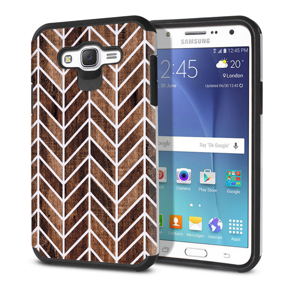 Samsung Galaxy J7 J700 Hybrid Slim Fusion Wood Chevron Protector Cover Case