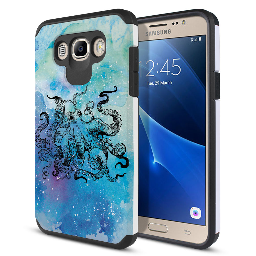 Samsung Galaxy J7 J710 2nd Gen 2016 Hybrid Slim Fusion Blue Water Octopus Protector Cover Case