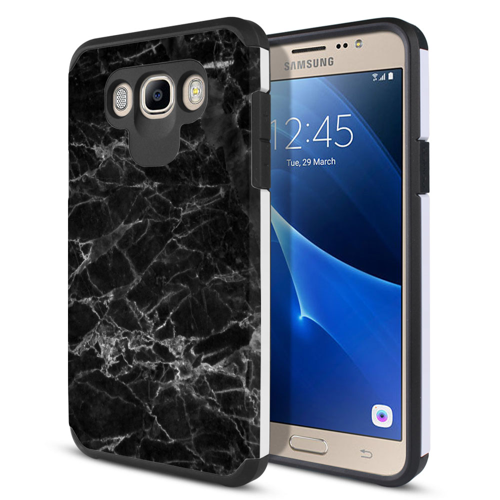 Samsung Galaxy J7 J710 2nd Gen 2016 Hybrid Slim Fusion Black Stone Marble Protector Cover Case