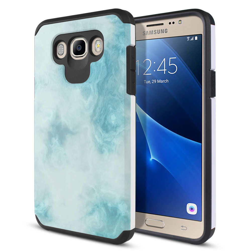 Samsung Galaxy J7 J710 2nd Gen 2016 Hybrid Slim Fusion Blue Cloudy Marble Protector Cover Case