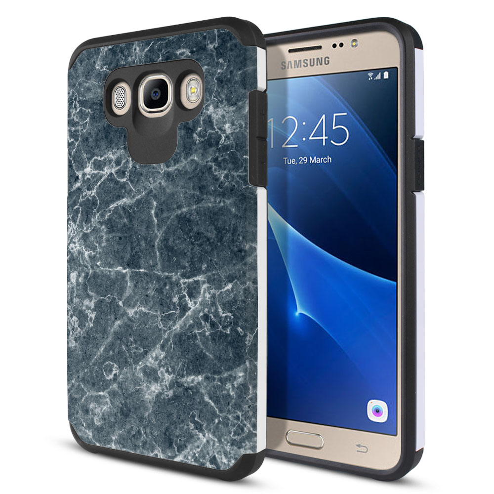 Samsung Galaxy J7 J710 2nd Gen 2016 Hybrid Slim Fusion Blue Stone Marble Protector Cover Case