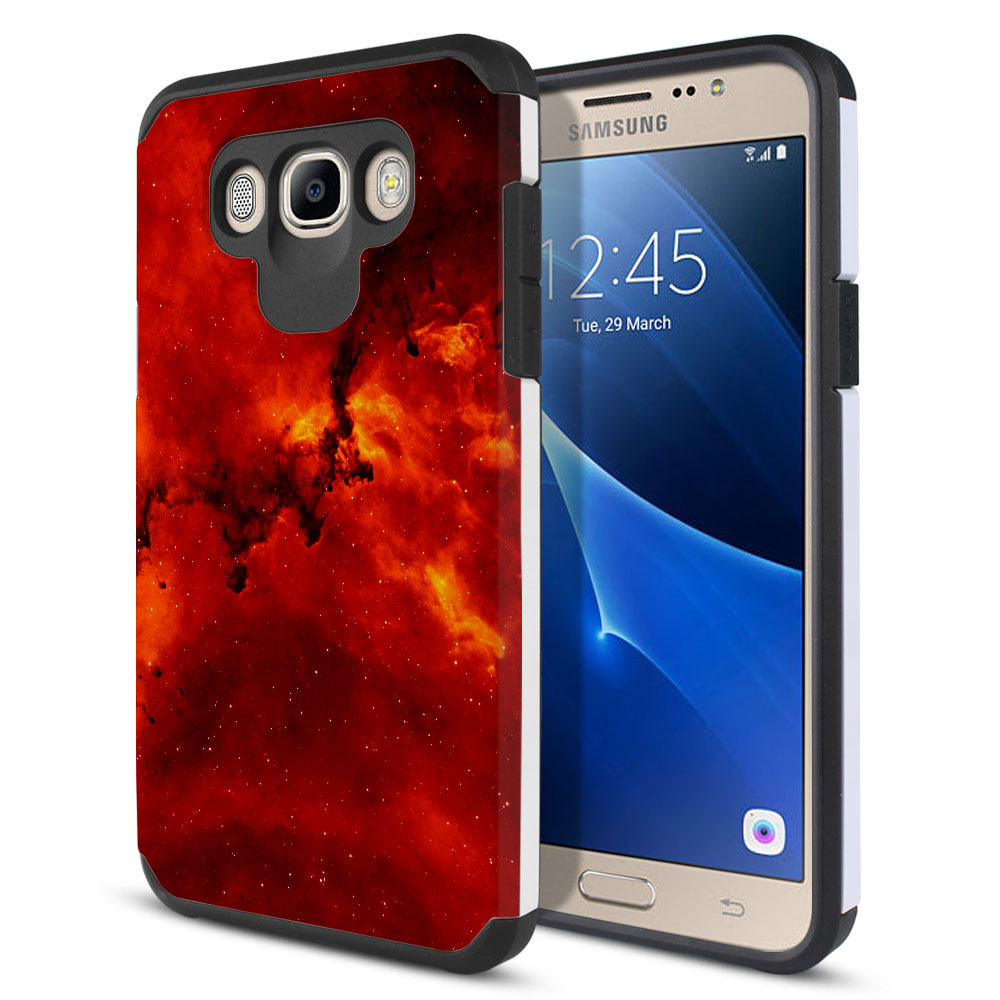 Samsung Galaxy J7 J710 2nd Gen 2016 Hybrid Slim Fusion Fiery Galaxy Protector Cover Case