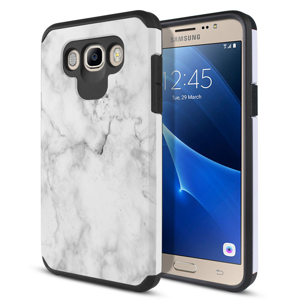 Samsung Galaxy J7 J710 2nd Gen 2016 Hybrid Slim Fusion Grey Cloudy Marble Protector Cover Case