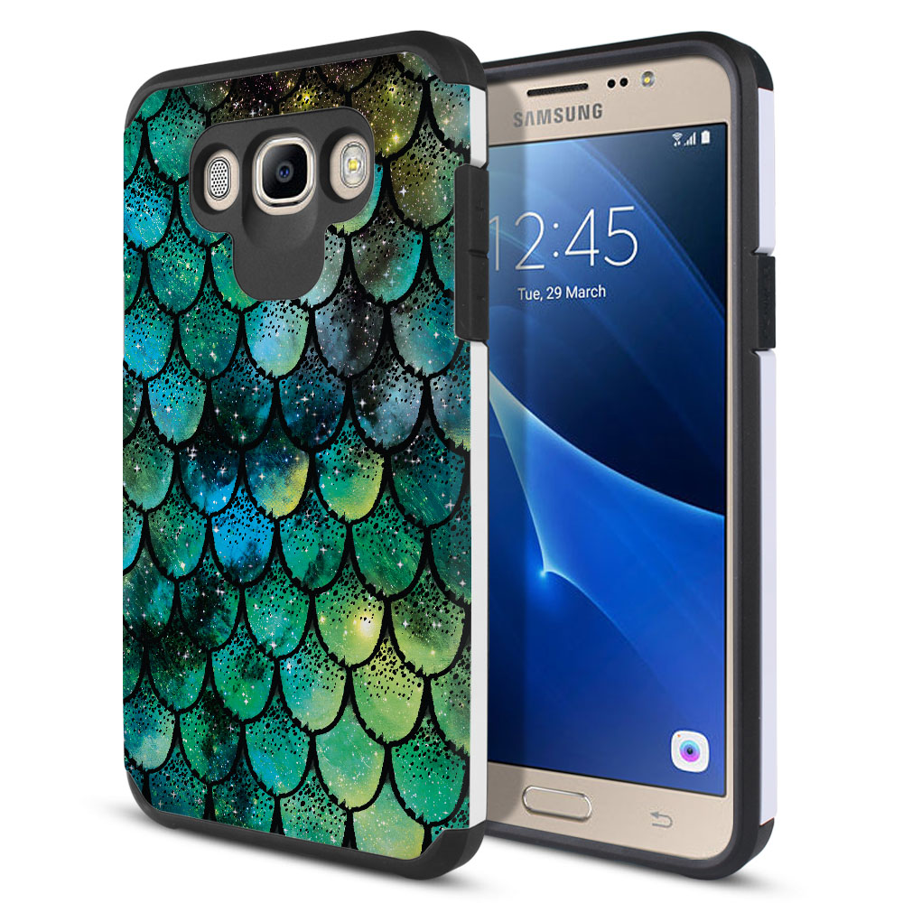 Samsung Galaxy J7 J710 2nd Gen 2016 Hybrid Slim Fusion Green Mermaid Scales Protector Cover Case