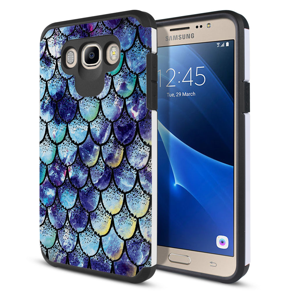 Samsung Galaxy J7 J710 2nd Gen 2016 Hybrid Slim Fusion Purple Mermaid Scales Protector Cover Case