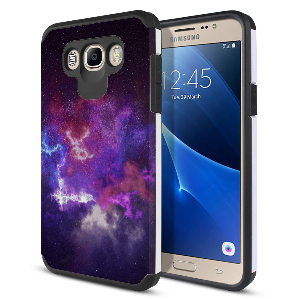 Samsung Galaxy J7 J710 2nd Gen 2016 Hybrid Slim Fusion Purple Nebula Space Protector Cover Case