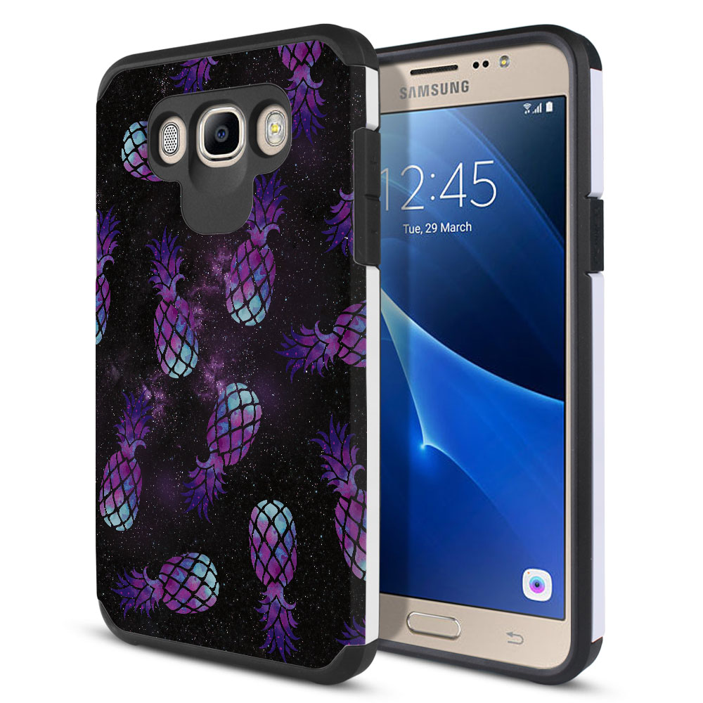 Samsung Galaxy J7 J710 2nd Gen 2016 Hybrid Slim Fusion Purple Pineapples Galaxy Protector Cover Case