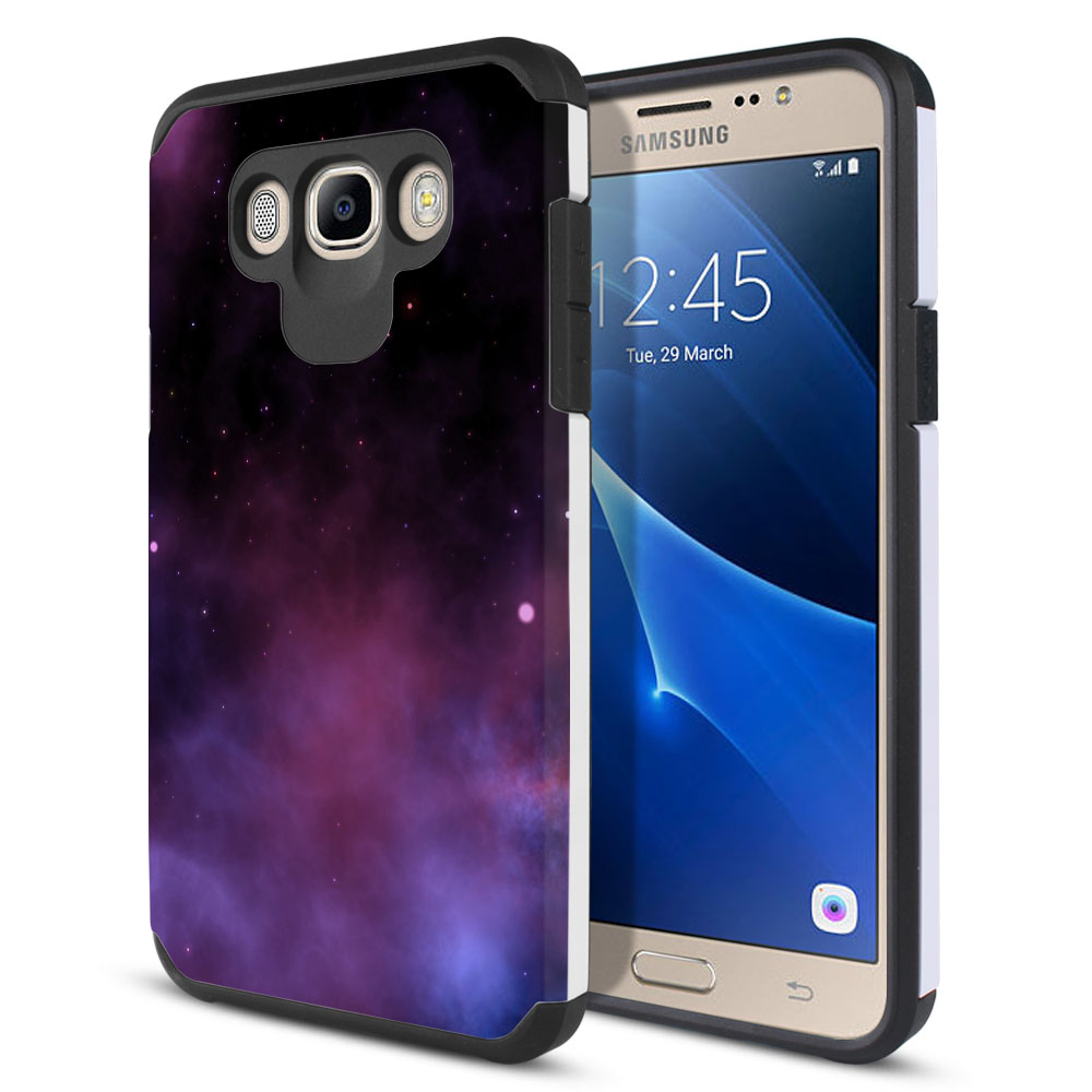 Samsung Galaxy J7 J710 2nd Gen 2016 Hybrid Slim Fusion Purple Space Stars Protector Cover Case