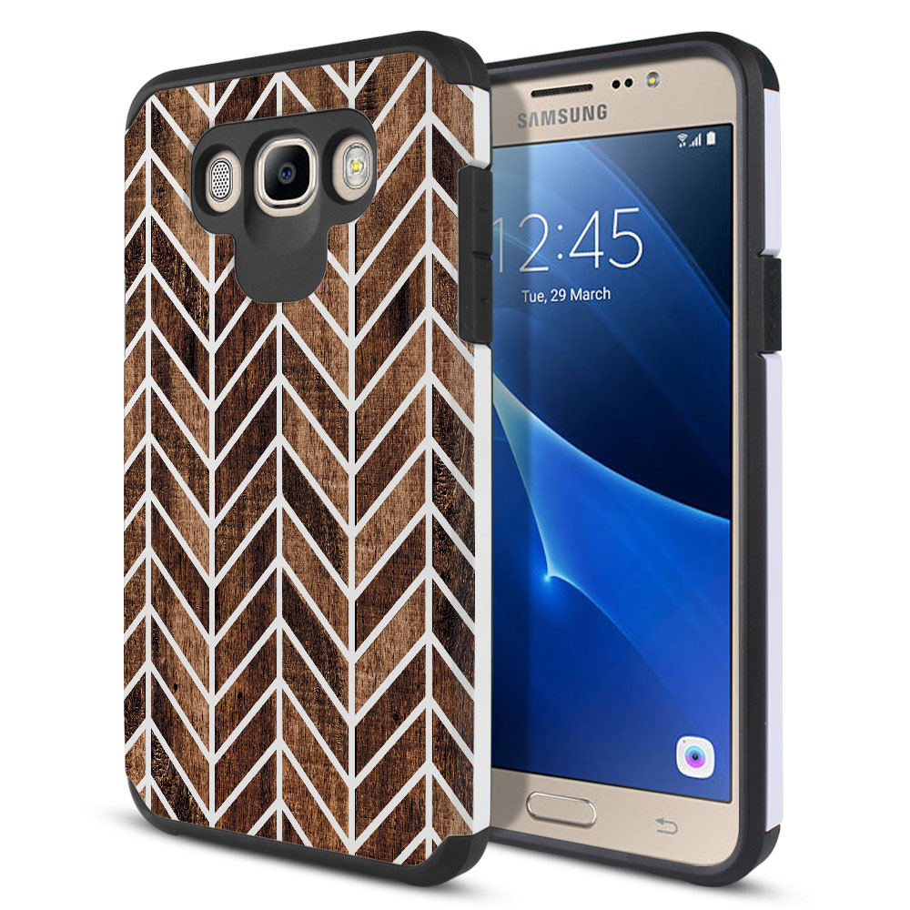 Samsung Galaxy J7 J710 2nd Gen 2016 Hybrid Slim Fusion Wood Chevron Protector Cover Case