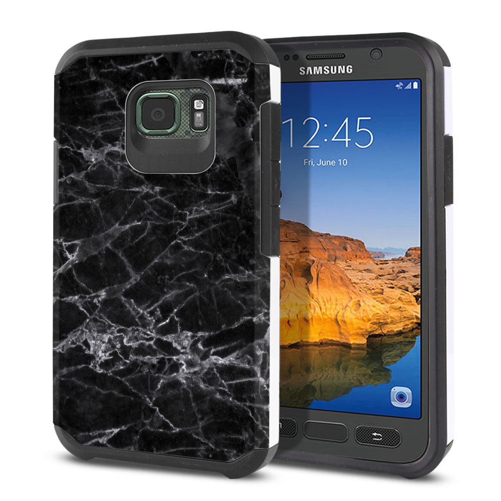 Samsung Galaxy S7 Active G891 Hybrid Slim Fusion Black Stone Marble Protector Cover Case