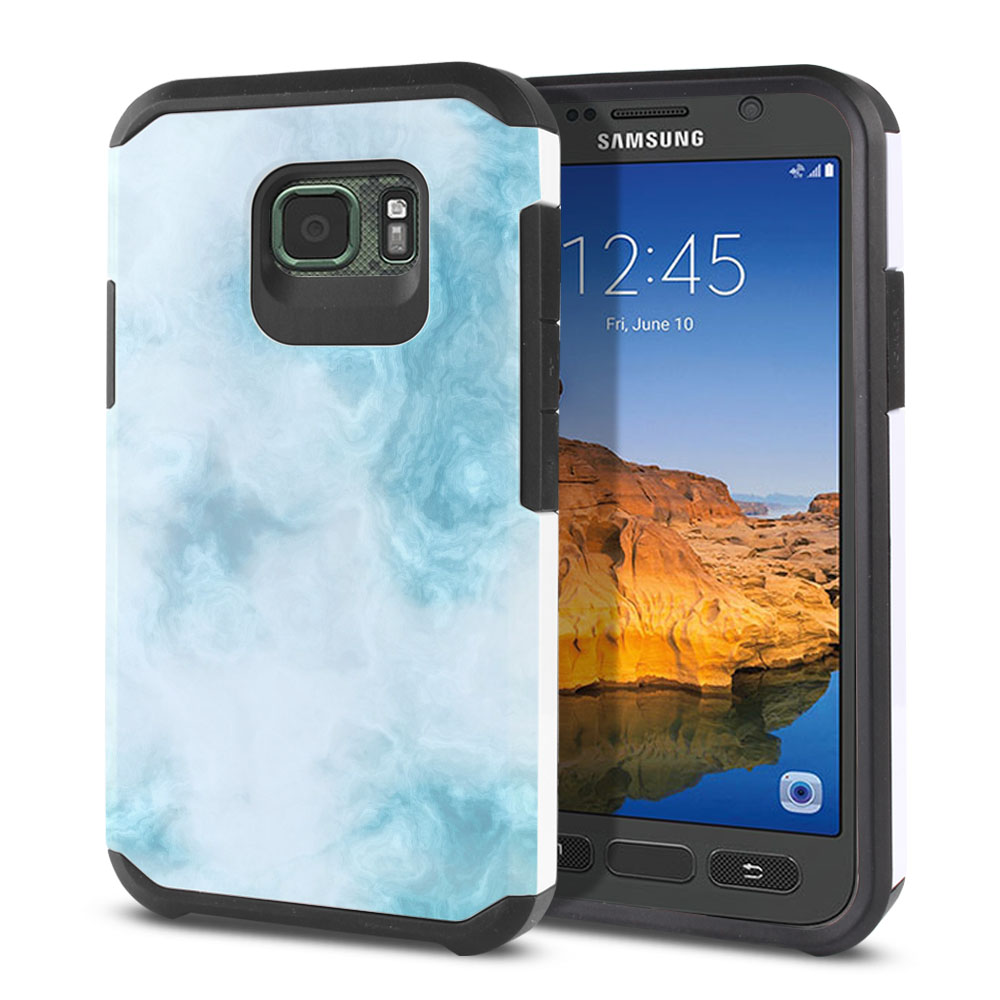 Samsung Galaxy S7 Active G891 Hybrid Slim Fusion Blue Cloudy Marble Protector Cover Case