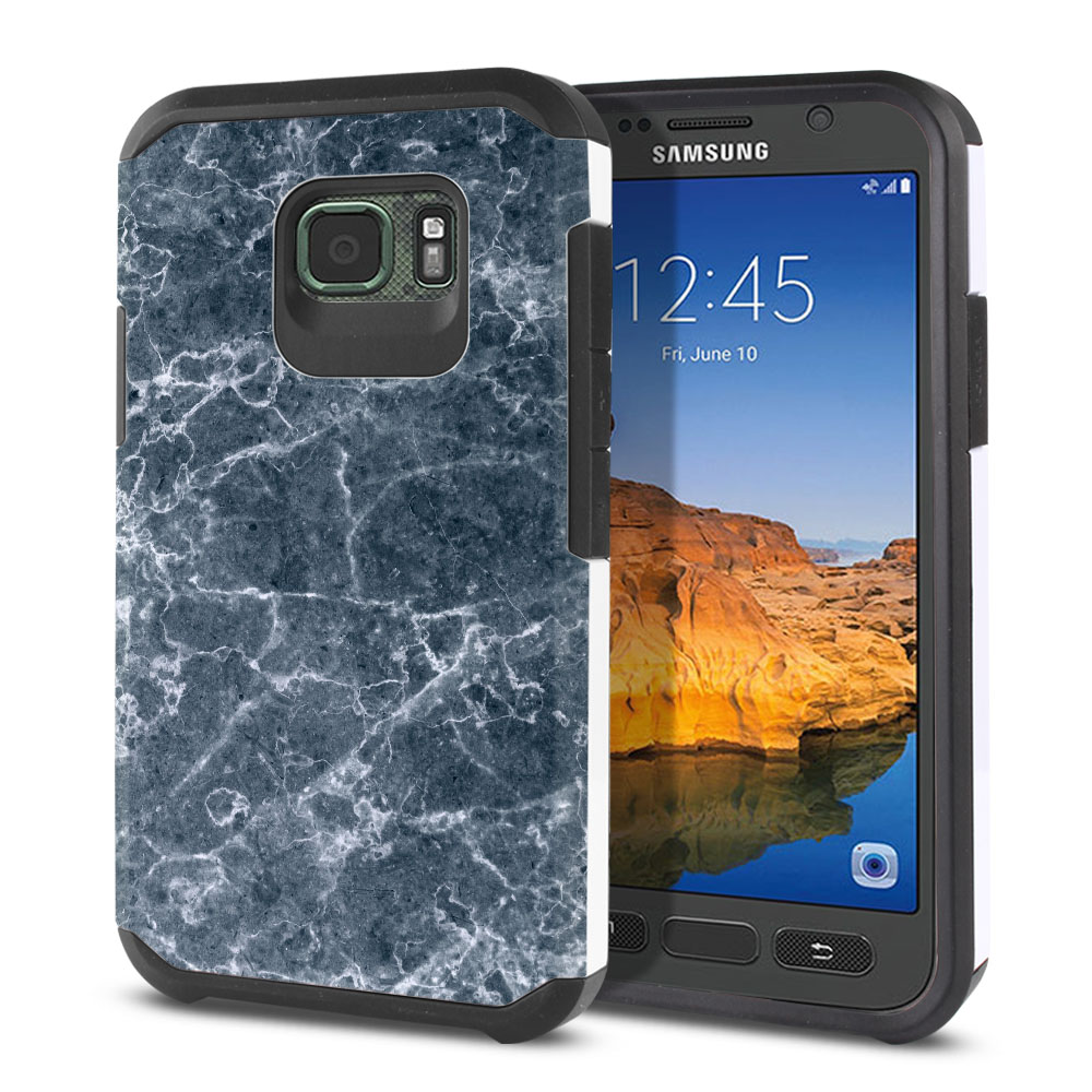 Samsung Galaxy S7 Active G891 Hybrid Slim Fusion Blue Stone Marble Protector Cover Case