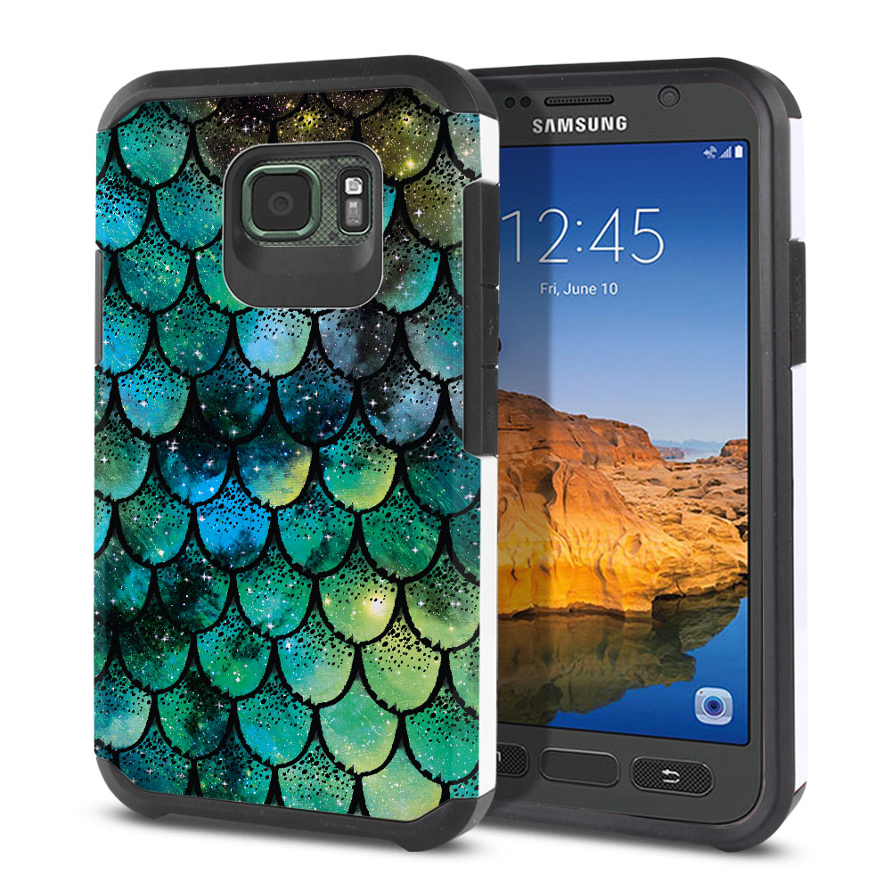 Samsung Galaxy S7 Active G891 Hybrid Slim Fusion Green Mermaid Scales Protector Cover Case