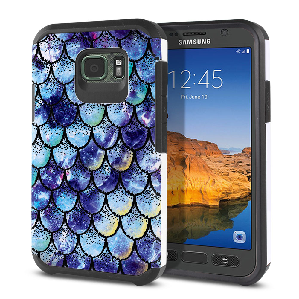 Samsung Galaxy S7 Active G891 Hybrid Slim Fusion Purple Mermaid Scales Protector Cover Case