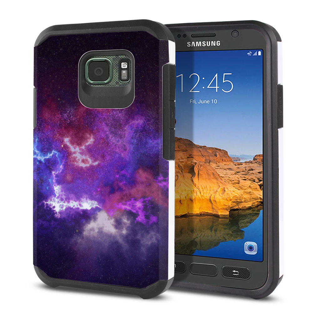 Samsung Galaxy S7 Active G891 Hybrid Slim Fusion Purple Nebula Space Protector Cover Case