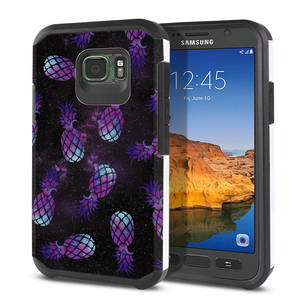 Samsung Galaxy S7 Active G891 Hybrid Slim Fusion Purple Pineapples Galaxy Protector Cover Case