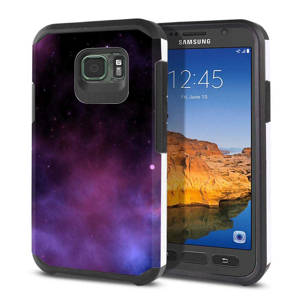 Samsung Galaxy S7 Active G891 Hybrid Slim Fusion Purple Space Stars Protector Cover Case