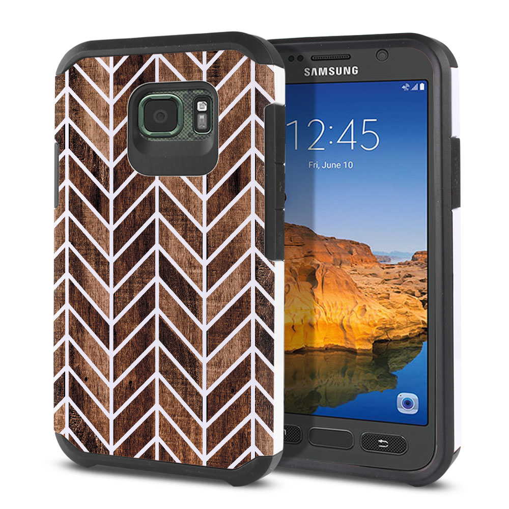 Samsung Galaxy S7 Active G891 Hybrid Slim Fusion Wood Chevron Protector Cover Case