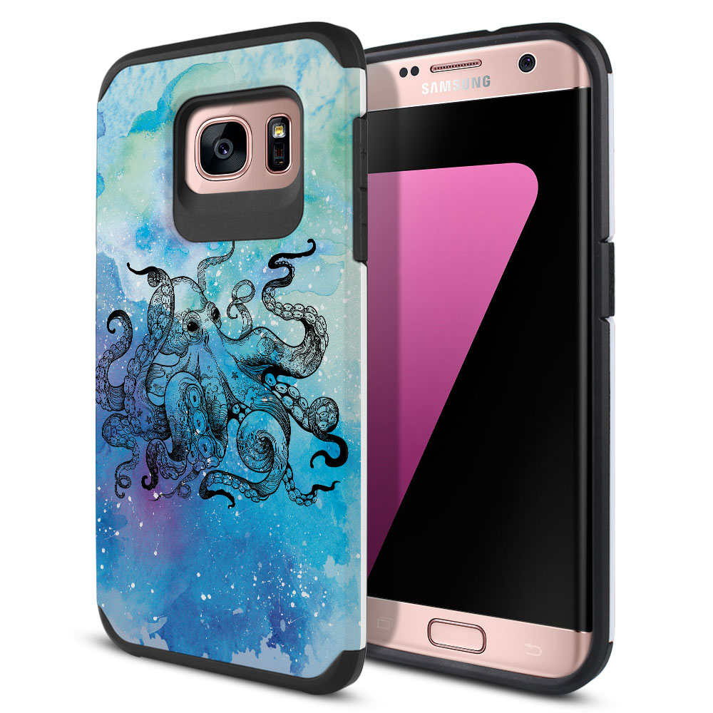 Samsung Galaxy S7 Edge G935 Hybrid Slim Fusion Blue Water Octopus Protector Cover Case