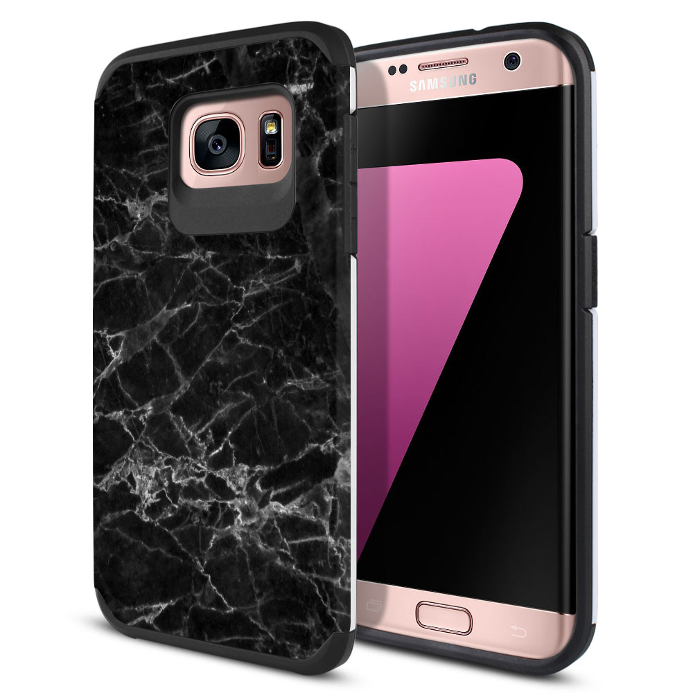 Samsung Galaxy S7 Edge G935 Hybrid Slim Fusion Black Stone Marble Protector Cover Case