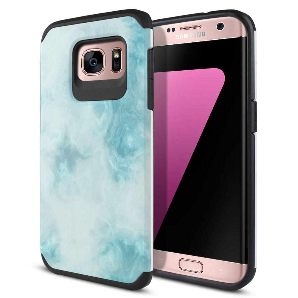 Samsung Galaxy S7 Edge G935 Hybrid Slim Fusion Blue Cloudy Marble Protector Cover Case