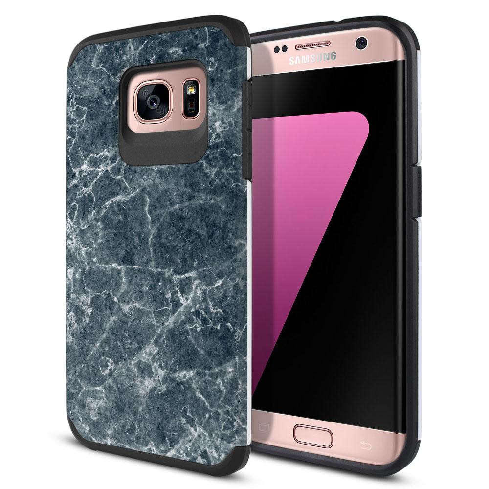 Samsung Galaxy S7 Edge G935 Hybrid Slim Fusion Blue Stone Marble Protector Cover Case