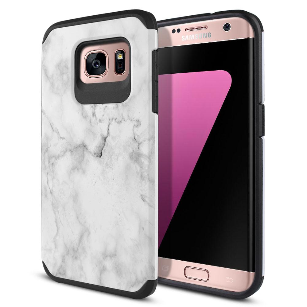 Samsung Galaxy S7 Edge G935 Hybrid Slim Fusion Grey Cloudy Marble Protector Cover Case