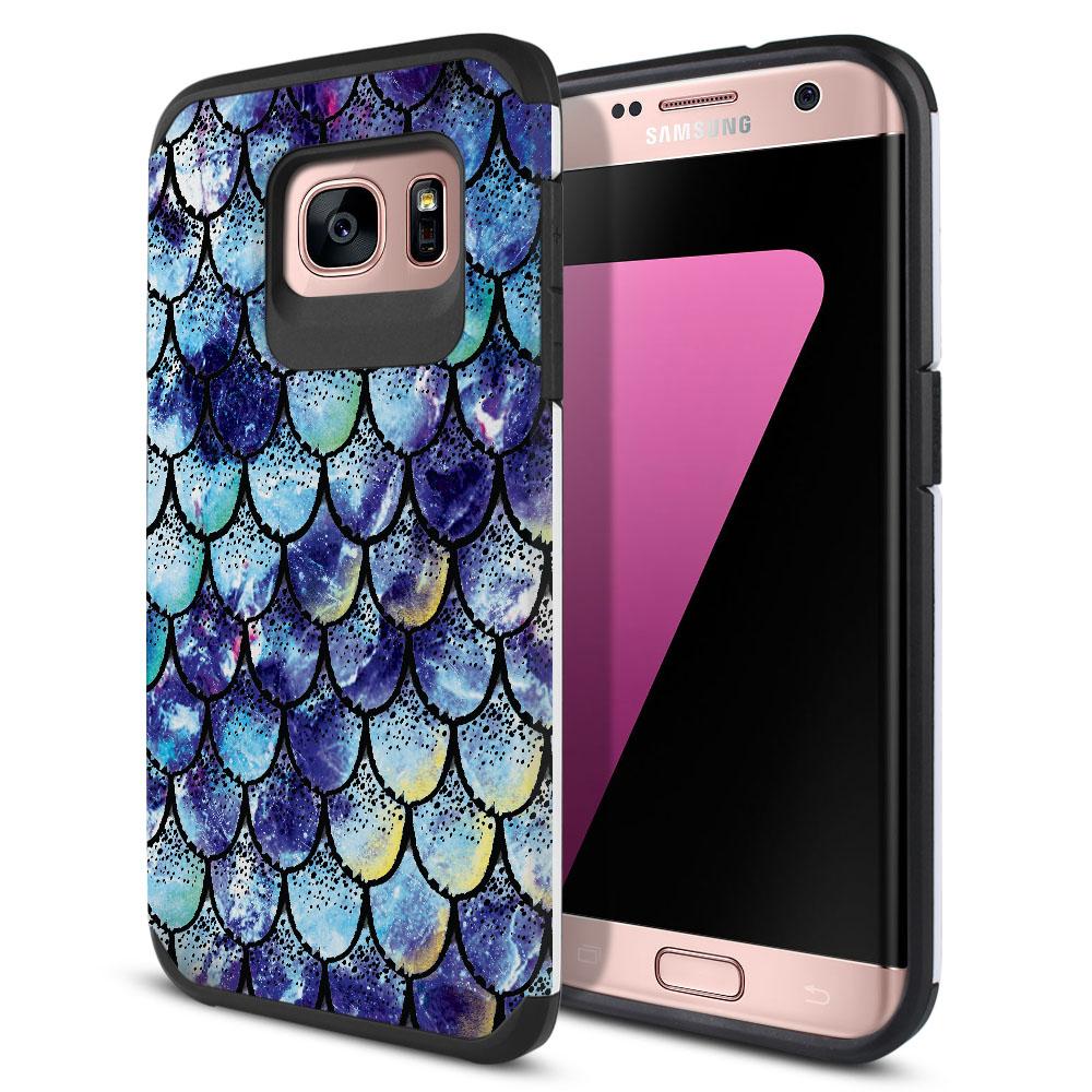 Samsung Galaxy S7 Edge G935 Hybrid Slim Fusion Purple Mermaid Scales Protector Cover Case