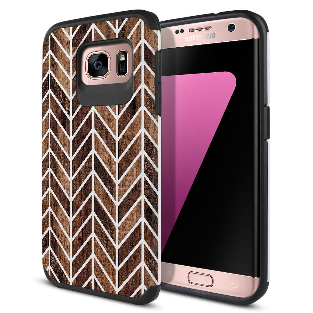 Samsung Galaxy S7 Edge G935 Hybrid Slim Fusion Wood Chevron Protector Cover Case