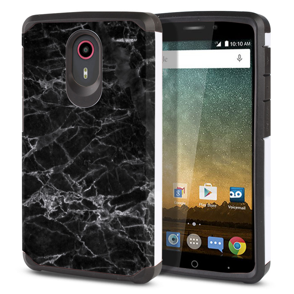 ZTE N817-ZTE Quest Uhura Hybrid Slim Fusion Black Stone Marble Protector Cover Case