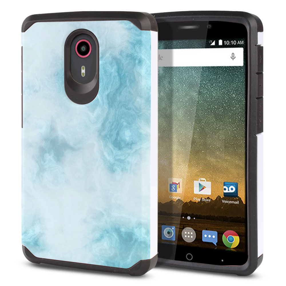 ZTE N817-ZTE Quest Uhura Hybrid Slim Fusion Blue Cloudy Marble Protector Cover Case