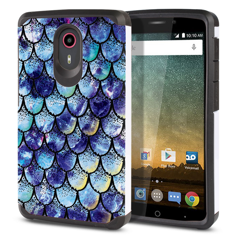 ZTE N817-ZTE Quest Uhura Hybrid Slim Fusion Purple Mermaid Scales Protector Cover Case