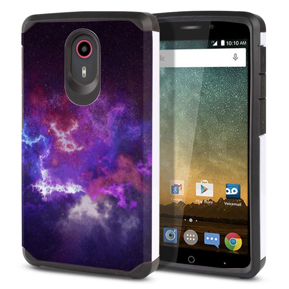 ZTE N817-ZTE Quest Uhura Hybrid Slim Fusion Purple Nebula Space Protector Cover Case